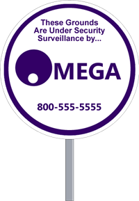 Wholesale Security Sign Circle Shape - One Color