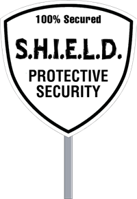 Wholesale Security Sign Shield Shape - One Color