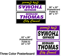 Three Color - Poster Board Yard Signs, Weather resistant and lightweight
