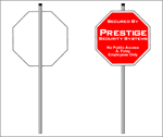 Security Sign Stake with Double Sided Tape and Caps